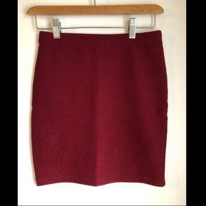 Forever 21 Ribbed Maroon Skirt
